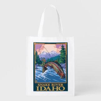Fly Fishing Scene - Snake River, Idaho Reusable Grocery Bag