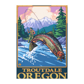 Fly Fishing Scene - Troutdale, Oregon Canvas Print