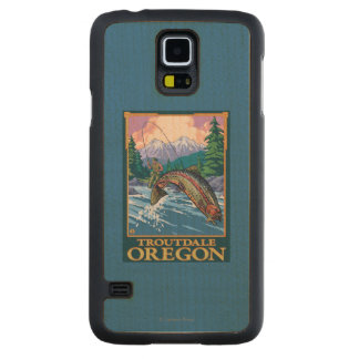 Fly Fishing Scene - Troutdale, Oregon Carved Maple Galaxy S5 Case