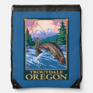 Fly Fishing Scene - Troutdale, Oregon Drawstring Bag