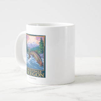 Fly Fishing Scene - Troutdale, Oregon Large Coffee Mug