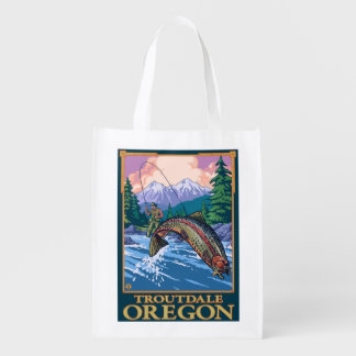 Fly Fishing Scene - Troutdale, Oregon Reusable Grocery Bag