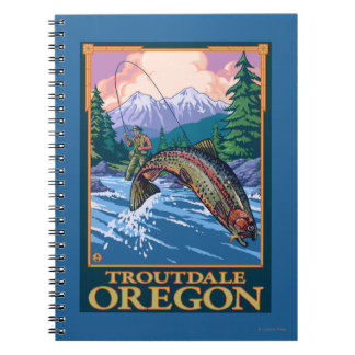 Fly Fishing Scene - Troutdale, Oregon Spiral Notebook