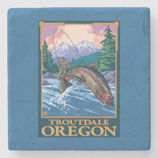 Fly Fishing Scene - Troutdale, Oregon Stone Coaster