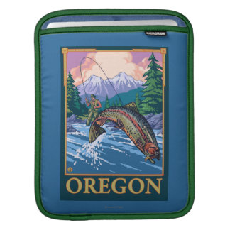 Fly Fishing Scene- Vintage Travel Poster Sleeve For iPads