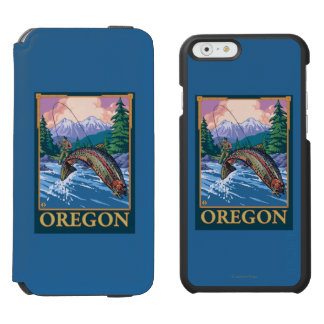 Fly Fishing Scene- Vintage Travel Poster iPhone 6/6s Wallet Case