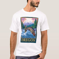 Fly Fishing Scene- Vintage Travel Poster T-Shirt