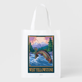 Fly Fishing Scene - West Yellowstone Reusable Grocery Bag