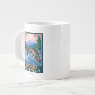 Fly Fishing Scene - Wrangell, Alaska Large Coffee Mug