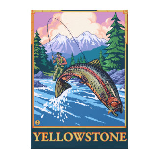Fly Fishing Scene - Yellowstone National Park Gallery Wrap Canvas