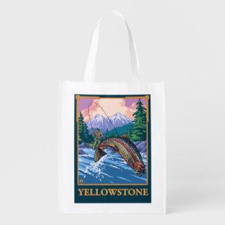 Fly Fishing Scene - Yellowstone National Park Reusable Grocery Bag