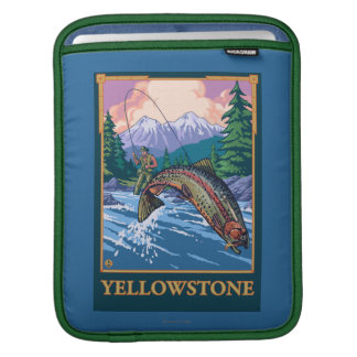 Fly Fishing Scene - Yellowstone National Park Sleeve For iPads
