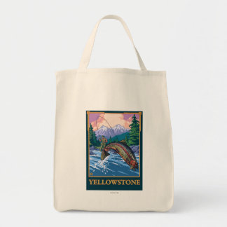 Fly Fishing Scene - Yellowstone National Park Tote Bag