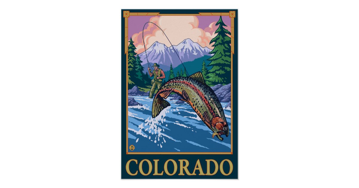 Fly fishing scenecolorado poster zazzle for Fly fishing posters