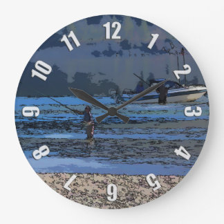 Fly Fishing Sportsmen and Boat Large Clock