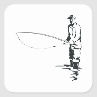 Fly Fishing Square Sticker