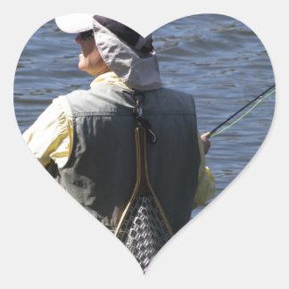 Fly Fishing Heart Sticker