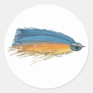 Fly Fishing Streamer Lure Art Classic Round Sticker