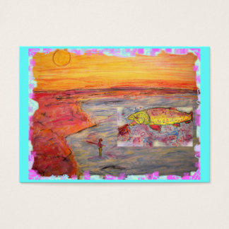 fly fishing sunset art business card