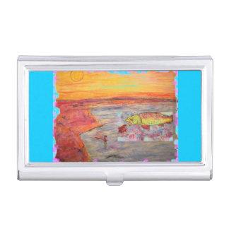 fly fishing sunset art business card holder