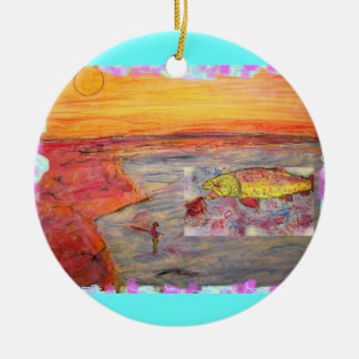 fly fishing sunset art ceramic ornament