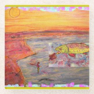 fly fishing sunset art glass coaster
