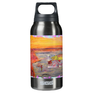 fly fishing sunset art insulated water bottle