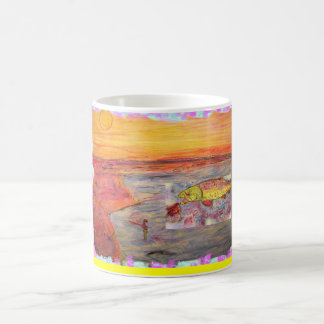 fly fishing sunset art mug