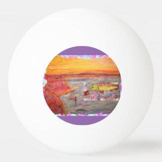 fly fishing sunset art Ping-Pong ball