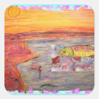 fly fishing sunset art square sticker