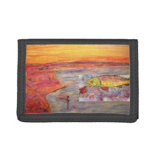 fly fishing sunset art tri-fold wallets