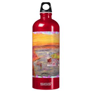 fly fishing sunset art water bottle