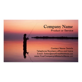 Fly-fishing sunset business card