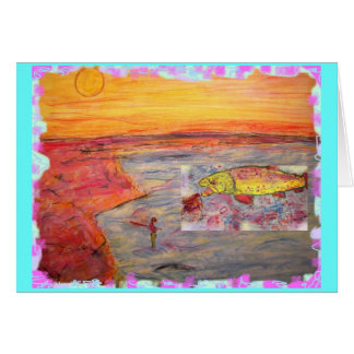 fly fishing sunset card