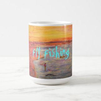fly fishing sunset coffee mug