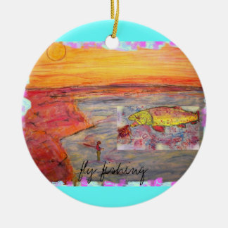 fly fishing sunset design ceramic ornament