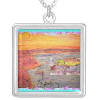fly fishing sunset design silver plated necklace