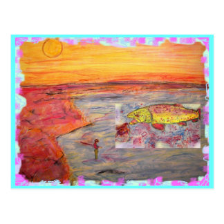 fly fishing sunset postcard