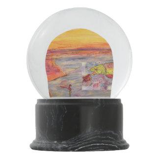 fly fishing sunset snow globe
