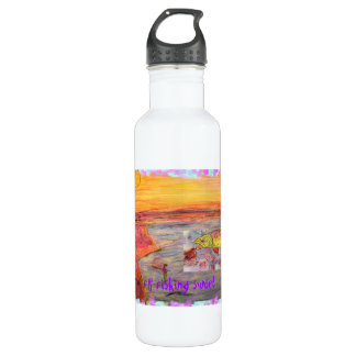 fly fishing sunset water bottle