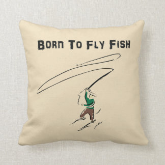 Fly Fishing Throw Pillow