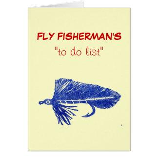 "Fly Fishing ""to do"" list card ""Blue Matuka"""