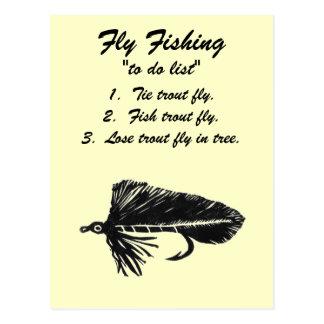 """Fly Fishing """"to do list"""" Postcard """"Black Matuka"""""""