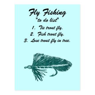"""Fly Fishing """"to do list"""" Postcard """"Green Matuka"""""""