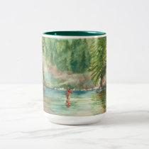 Fly fishing Two-Tone coffee mug