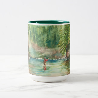 Fly fishing Two-Tone coffee mug