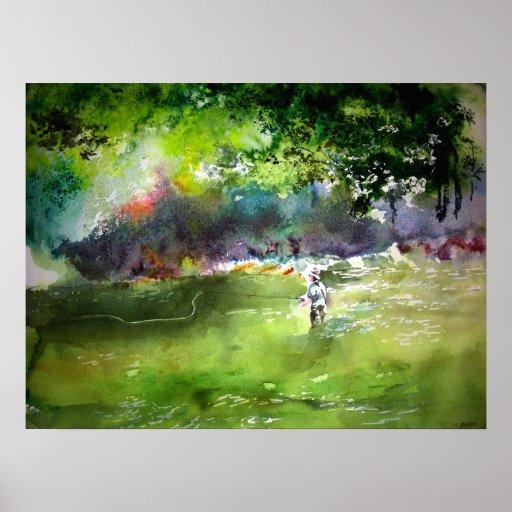 Fly Fishing Watercolor Print