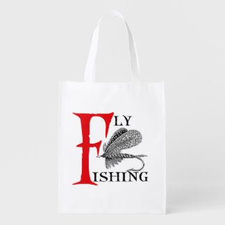 Fly Fishing With Fishing Lure Reusable Grocery Bag