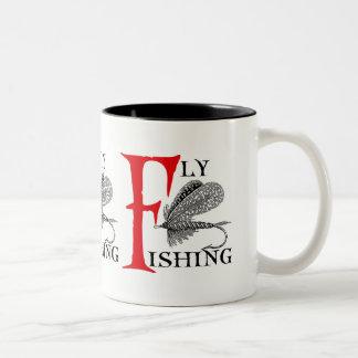 Fly Fishing With Fishing Lure Two-Tone Coffee Mug