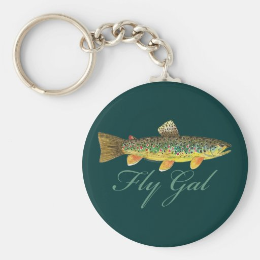 Fly Fishing Woman Keychain